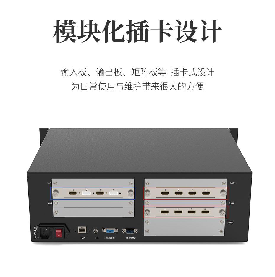HDMI多屏/多画面拼接处理器HD218采用模块化插卡设计,方便维护