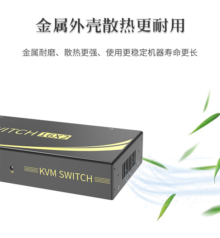 工业级16进2出HDMI KVM切换器161HK采用侧边开孔散热设计