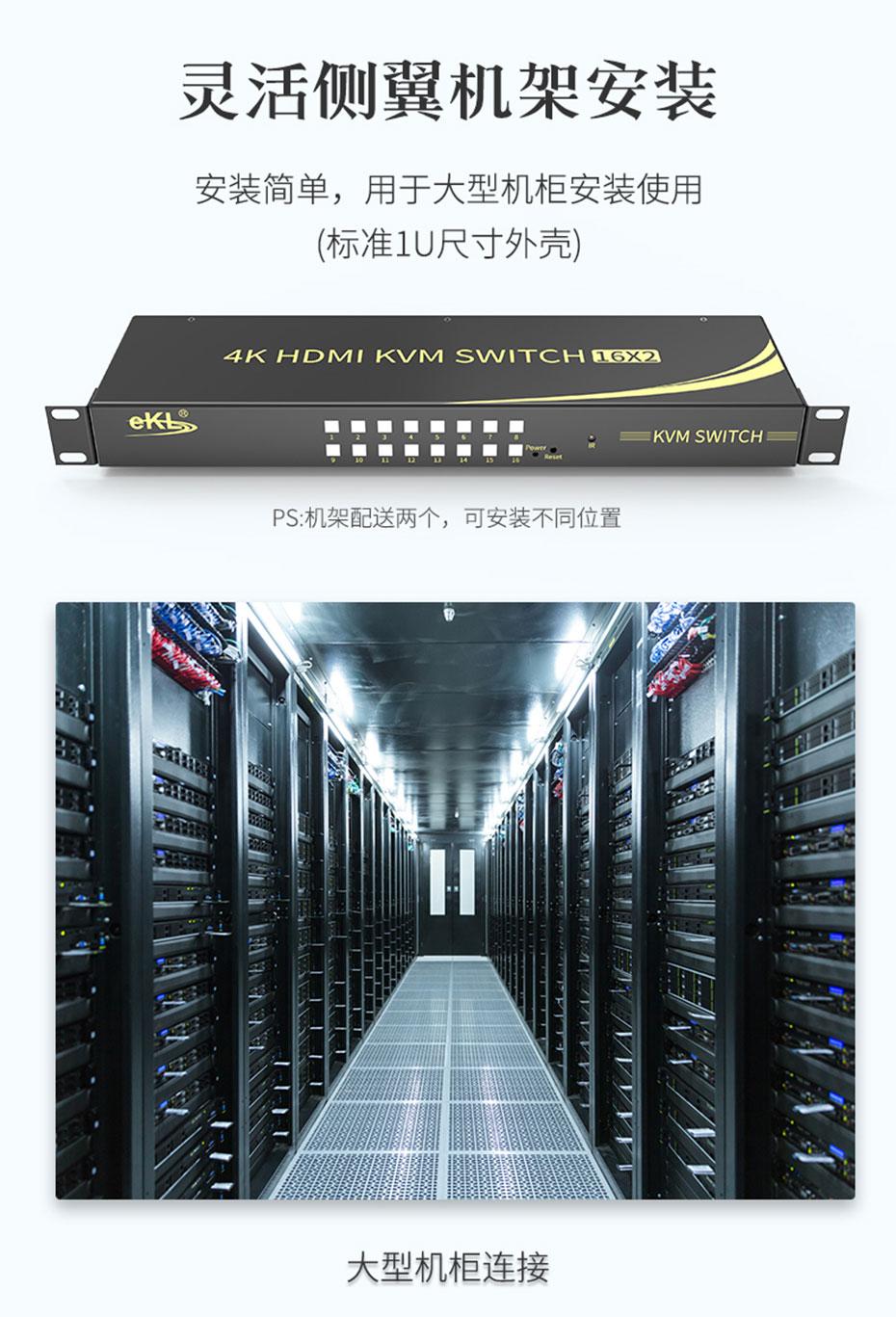 16进2出HDMI KVM切换器161HK采用机架式安装设计