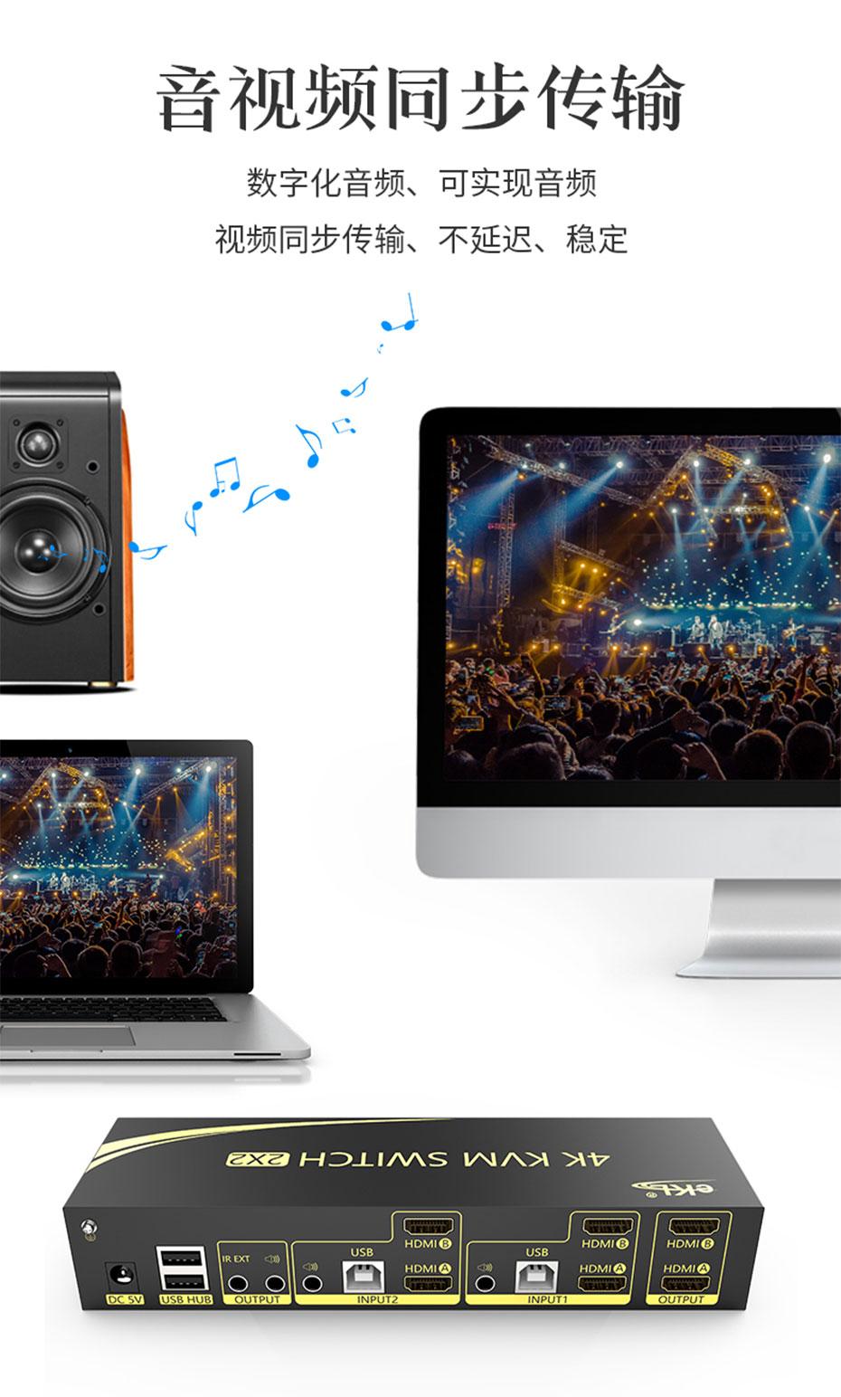双屏HDMI KVM切换器212HK支持音视频同步传输