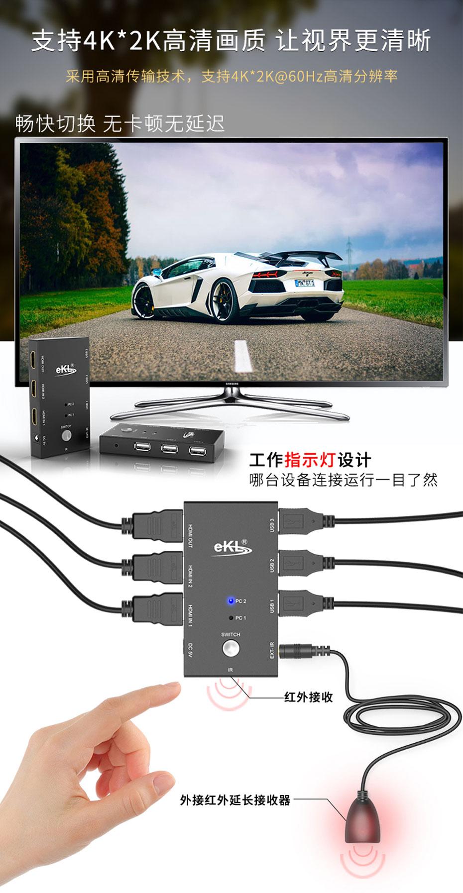HDMI2.0 KVM切换器二进一出21HA支持4k*2k高清画质