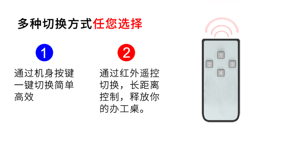 HDMI2.0 KVM切换器二进一出21HA支持按键/遥控切换