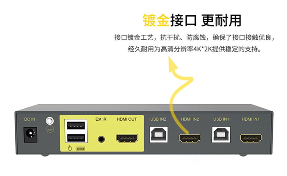 HDMI KVM切换器2进1出21hk采用镀金HDMI接口