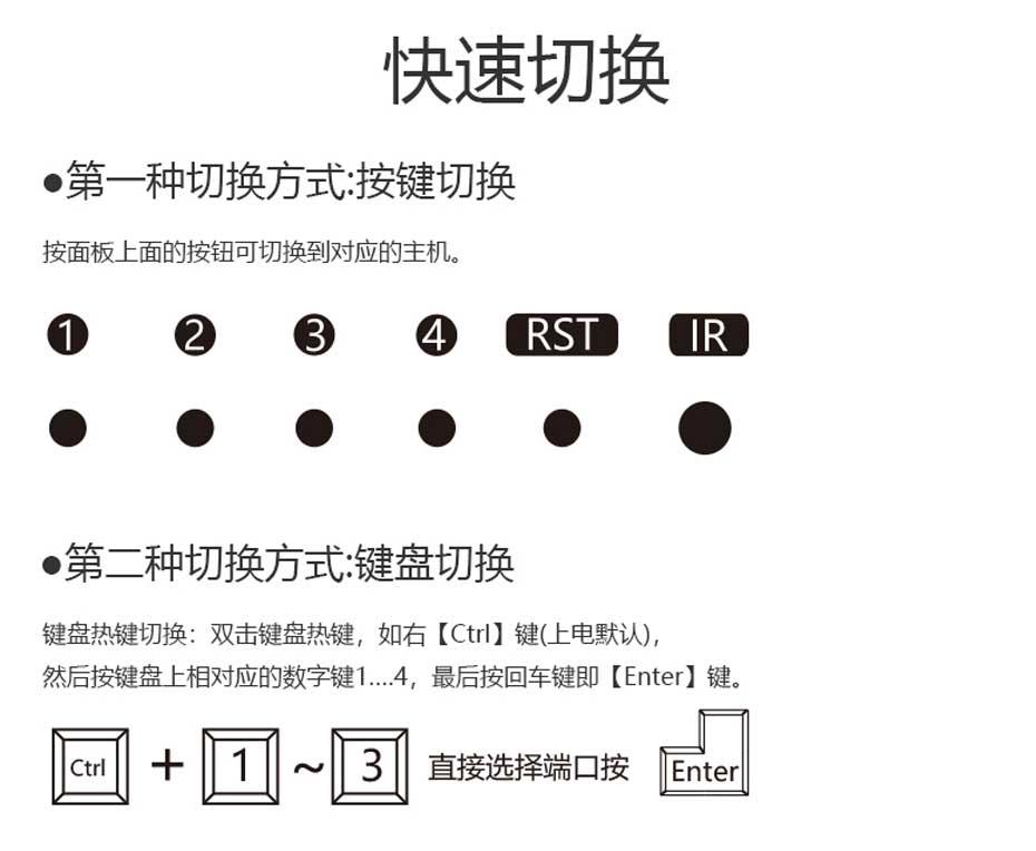 工程专供4进1出hdmi2.0 kvm切换器41HK2.0按键切换和键盘热键切换说明