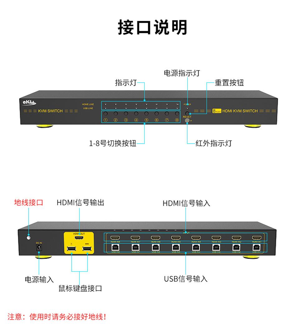 8口HDMI KVM切换器8进1出81HK接口说明
