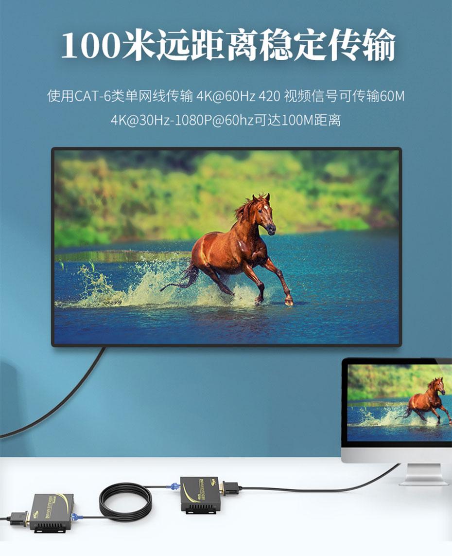 100米DVI KVM单网线延长器DCK100 4K@60Hz 420视频信号可延长60米;4K@30Hz/1080p@60Hz可延长100米
