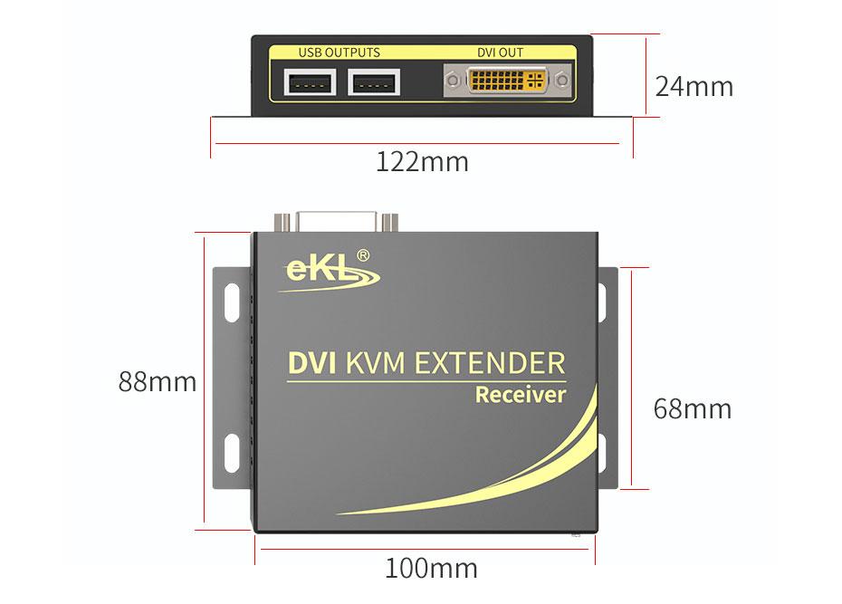 100米DVI KVM单网线延长器DCK100接收端长122mm;宽88mm;高24mm