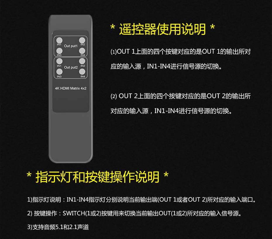 HDMI矩阵4进2出412H遥控器使用说明