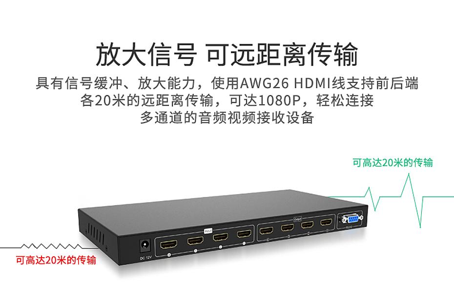 HDMI矩阵4进4出414H支持放大信号 可远距离传输