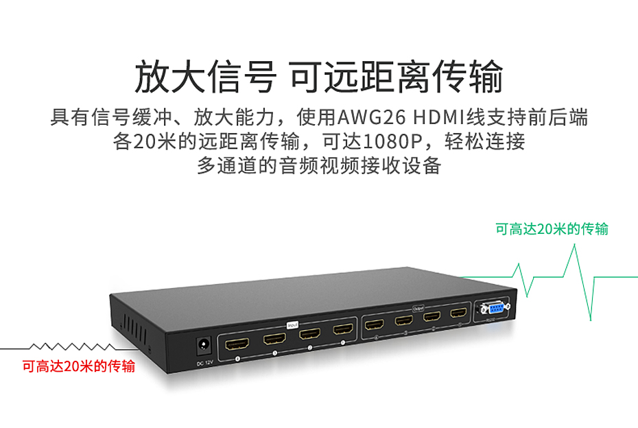HDMI矩阵四进四414H支持放大信号 可远距离传输