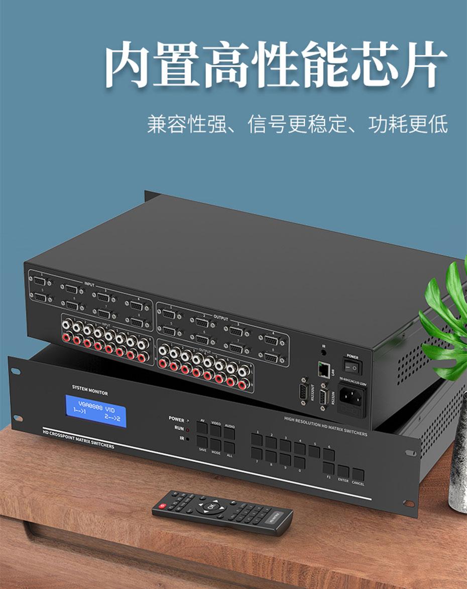 VGA矩阵拼接屏控制器8进8出V818A使用高性能芯片,工作稳定