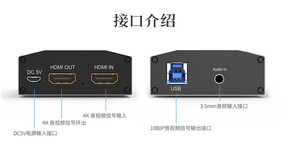USB HDMI采集卡1805实物接口说明图