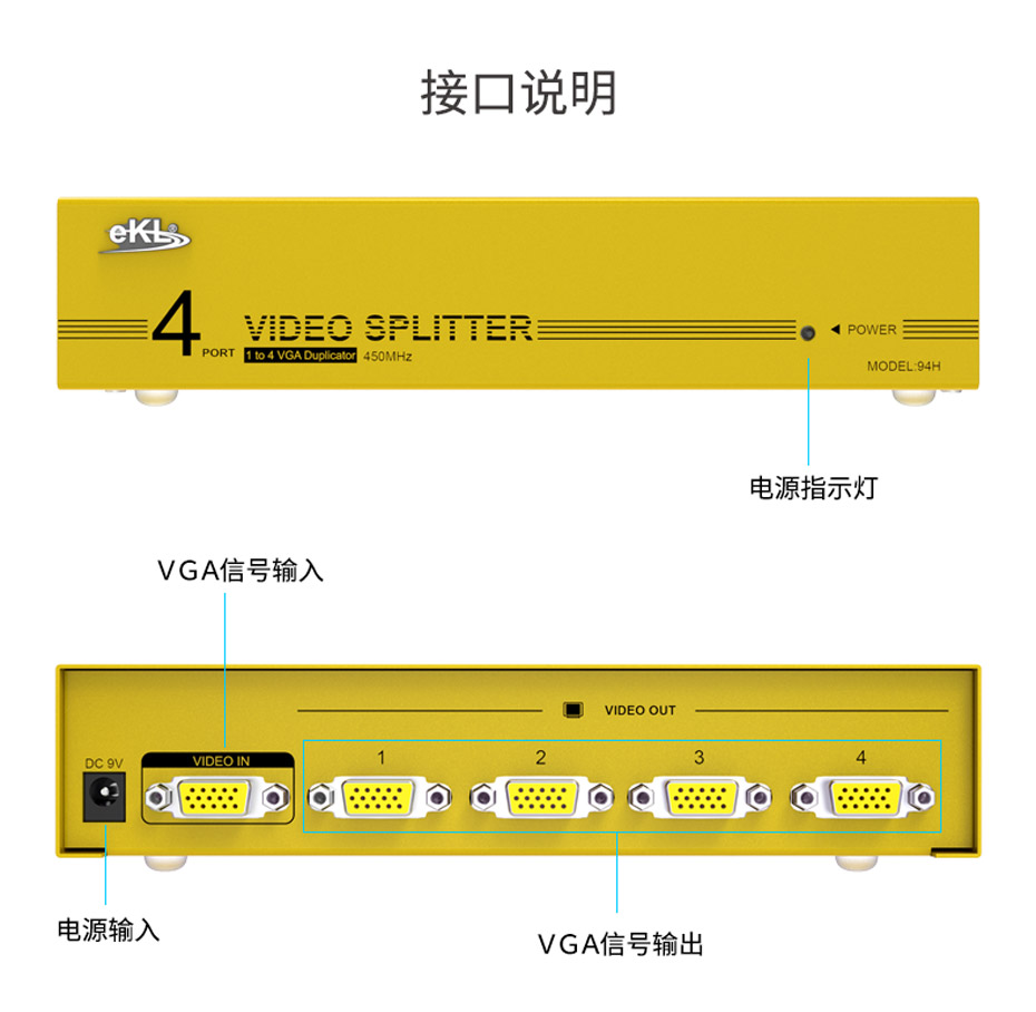 VGA视频分配器1进4出94H接口说明
