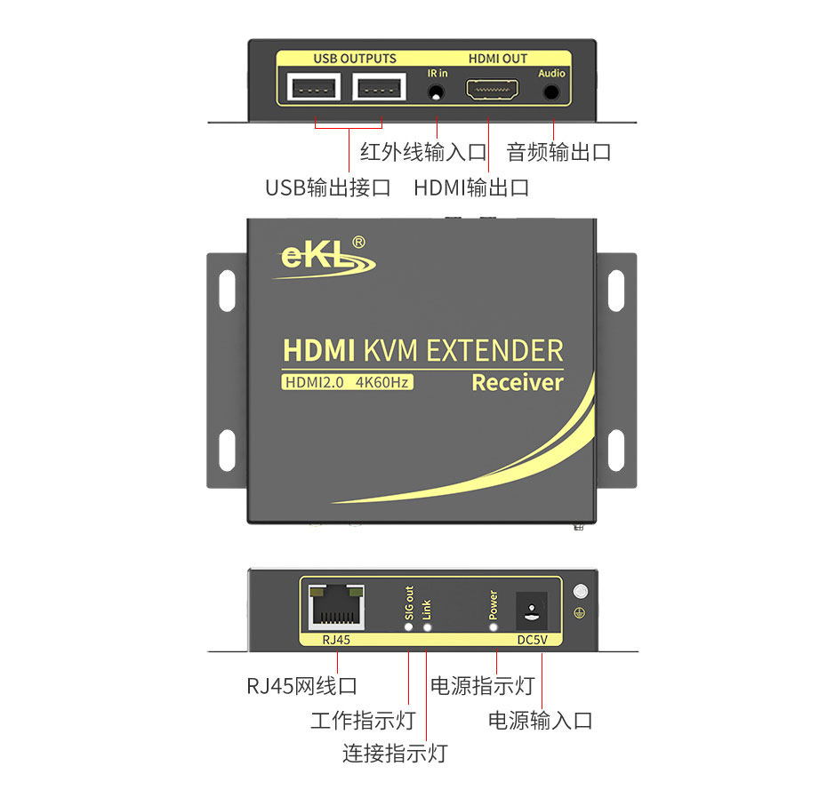 60米HDMI2.0单网线延长器HCK100接收端接口介绍
