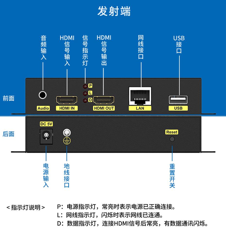 HDMI KVM网络延长器HKU200发射端接口说明