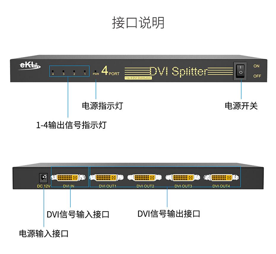 DVI分配器1进4出104D接口说明