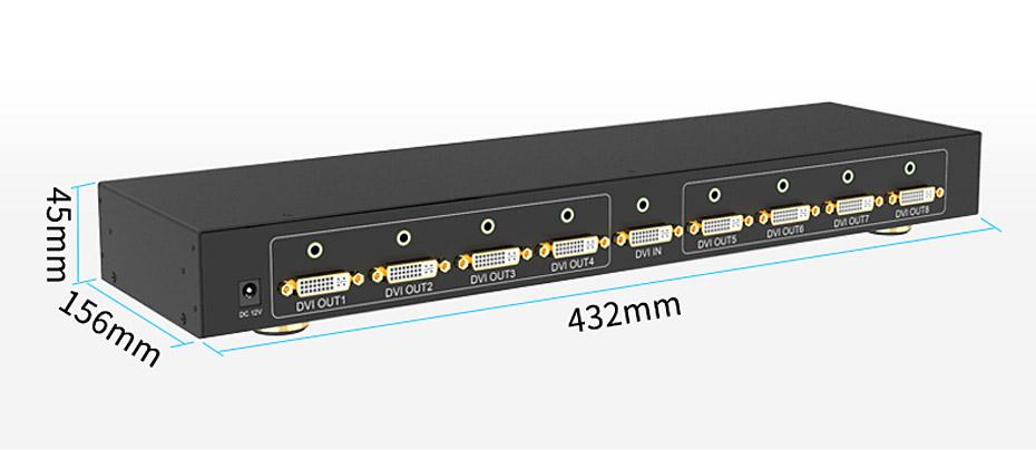 DVI分配器1进8出108D外观尺寸长:432mm;宽:156mm;高:45mm