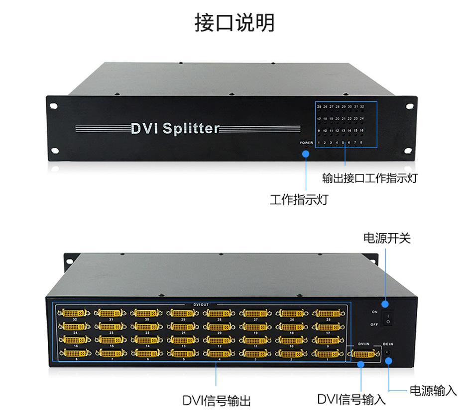 DVI分配器一进三十二出132D接口说明