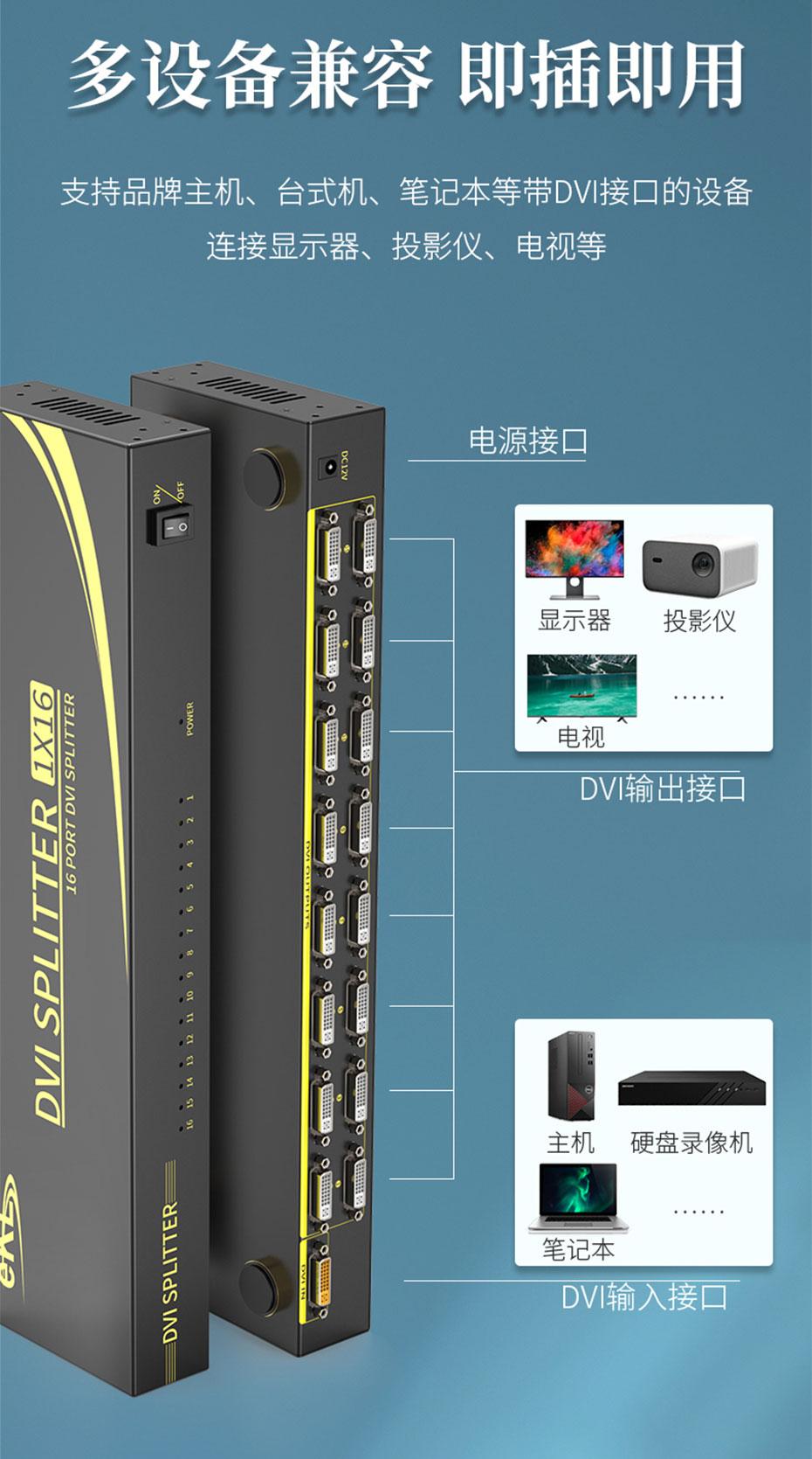 DVI分配器1分16 161D兼容多种DVI接口设备,即插即用