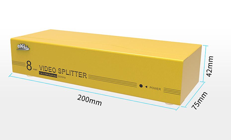 VGA高频分配器一进八出98H长200mm;宽75mm;高42mm