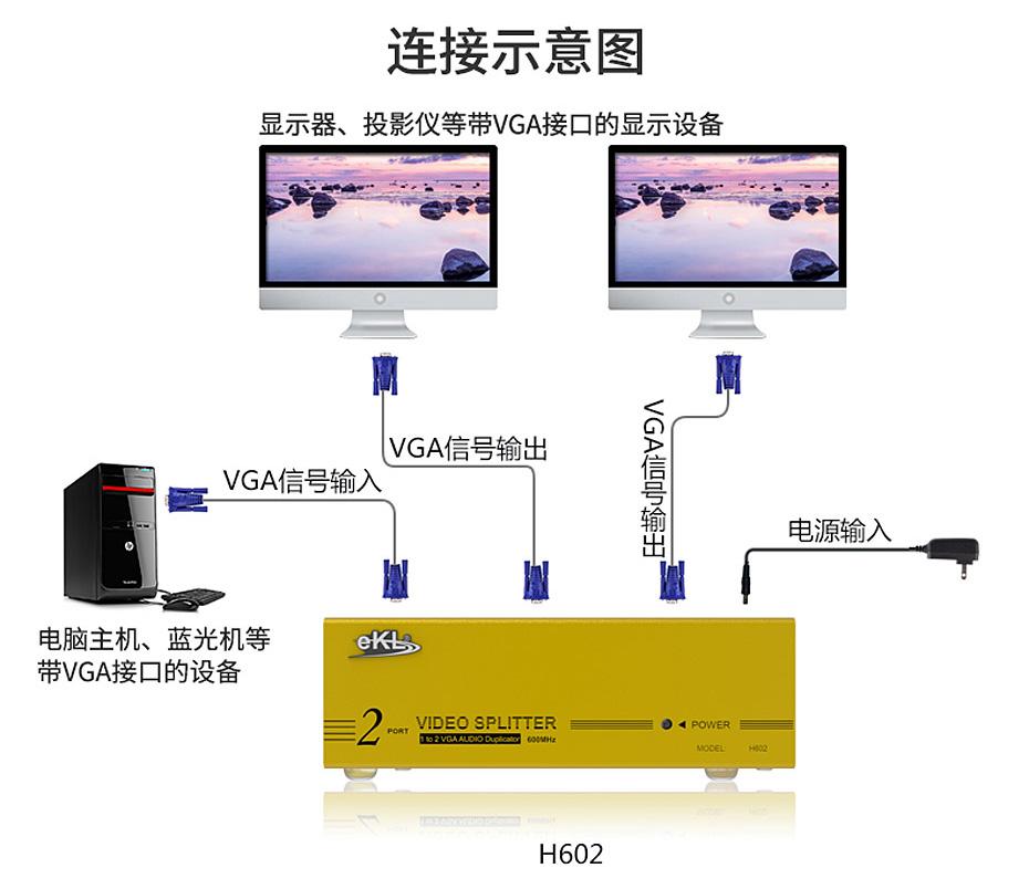 VGA高频分配器1分2 H602连接使用示意图