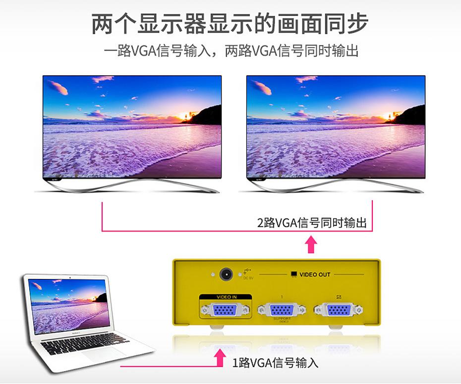 VGA高频分配器1分2 H602支持两台显示器同步显示