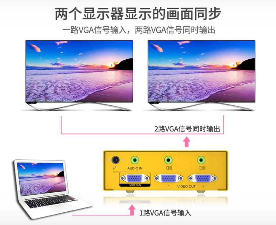 VGA高频分配器一进二出H602A支持音频和视频同步传输