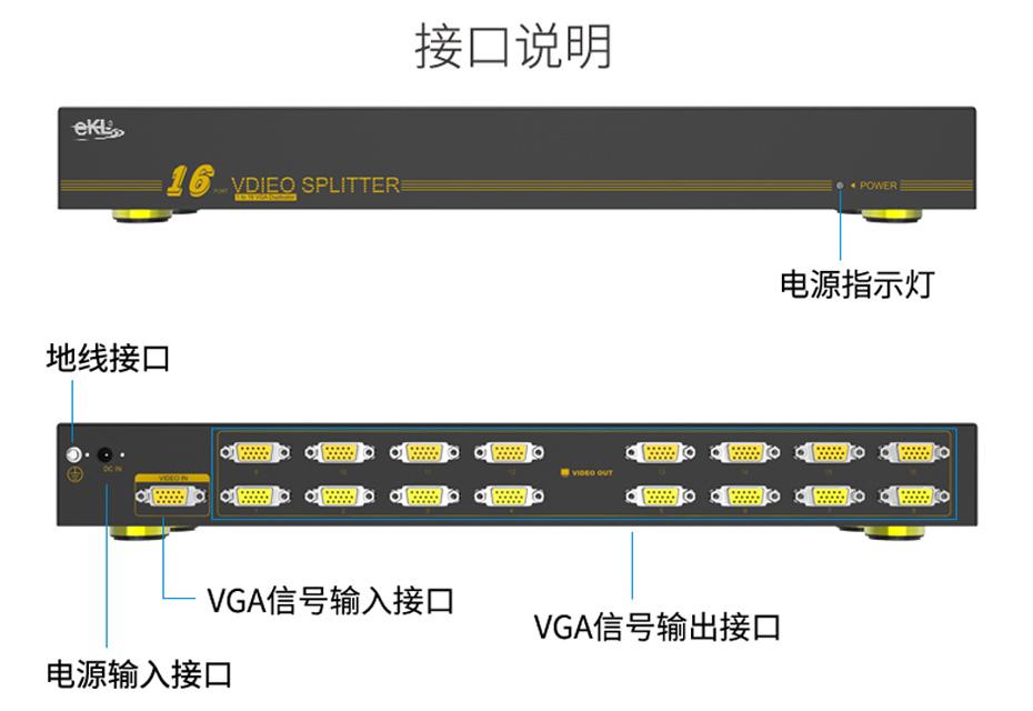 vga分配器1进16出H916接口说明