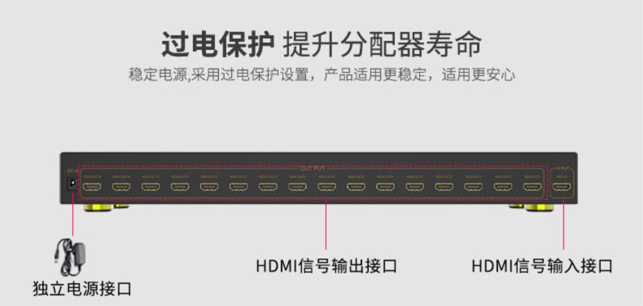 工程专供hdmi分配器一进十六出HS161采用独立电源与过电保护设计