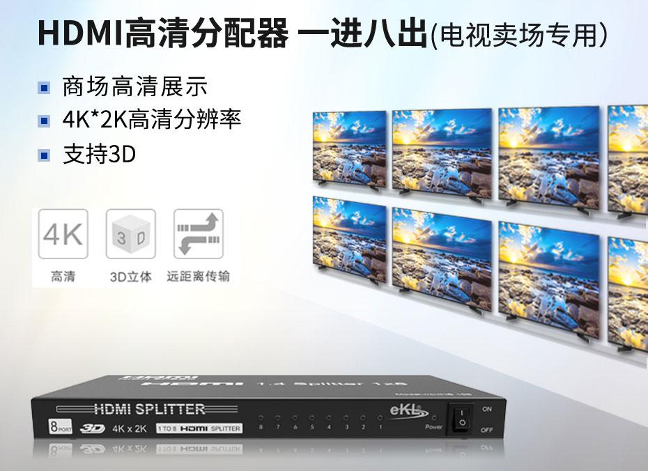 HDMI分配器一进八出MiniHS108