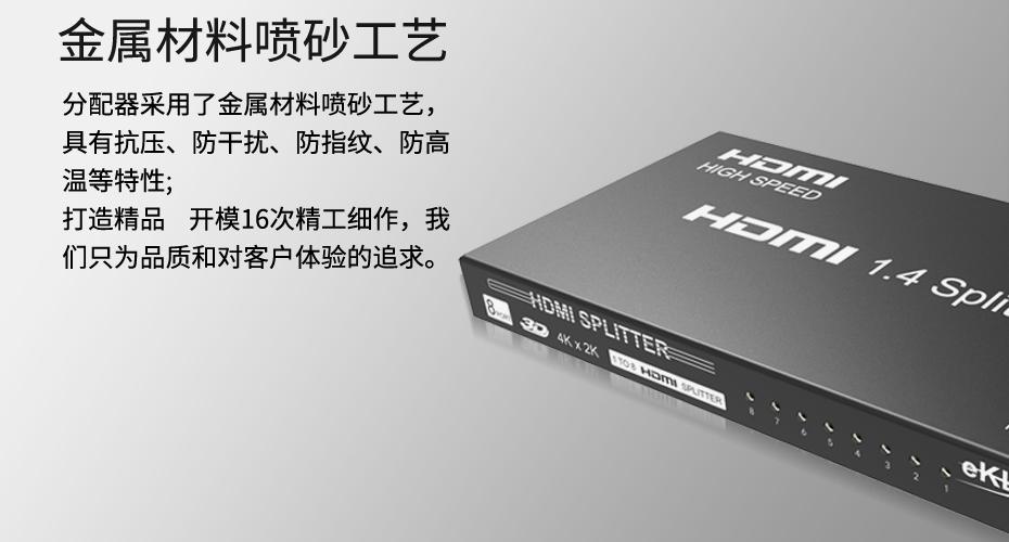 HDMI分配器1进8出MiniHS108使用金属磨砂外壳