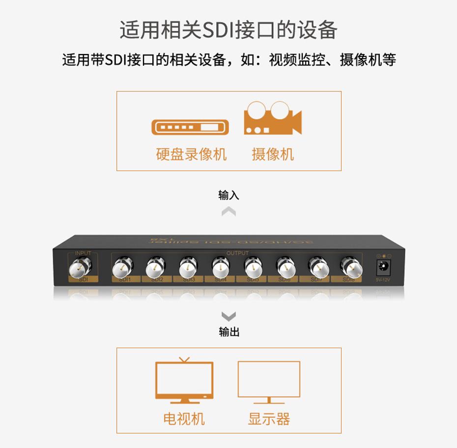 SDI分配器1分8 SD108适用相关sdi接口设备