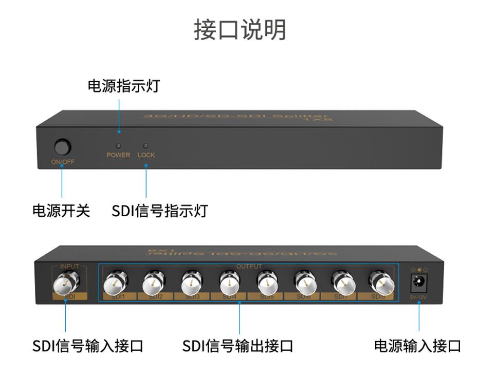 SDI分配器1进8出SD108接口说明