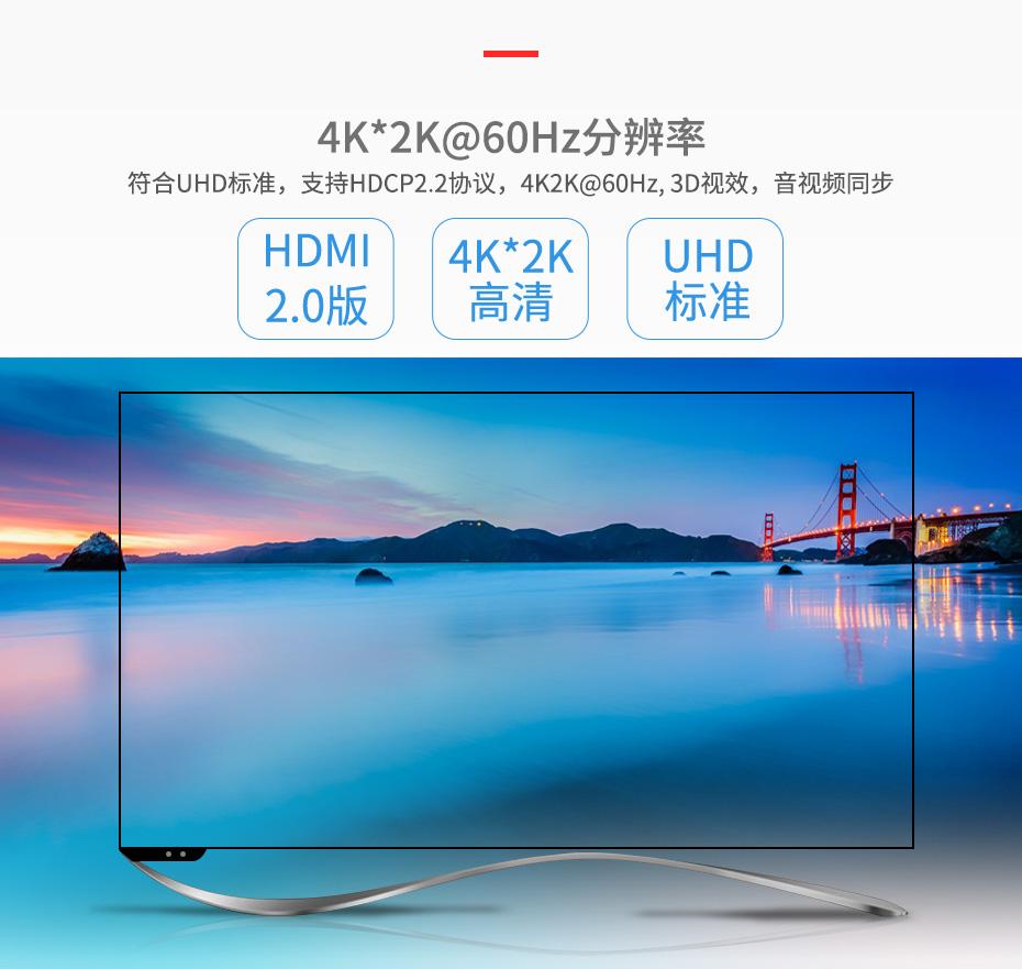 HDMI2.0分配器一进四出UH04支持4k高清分辨率