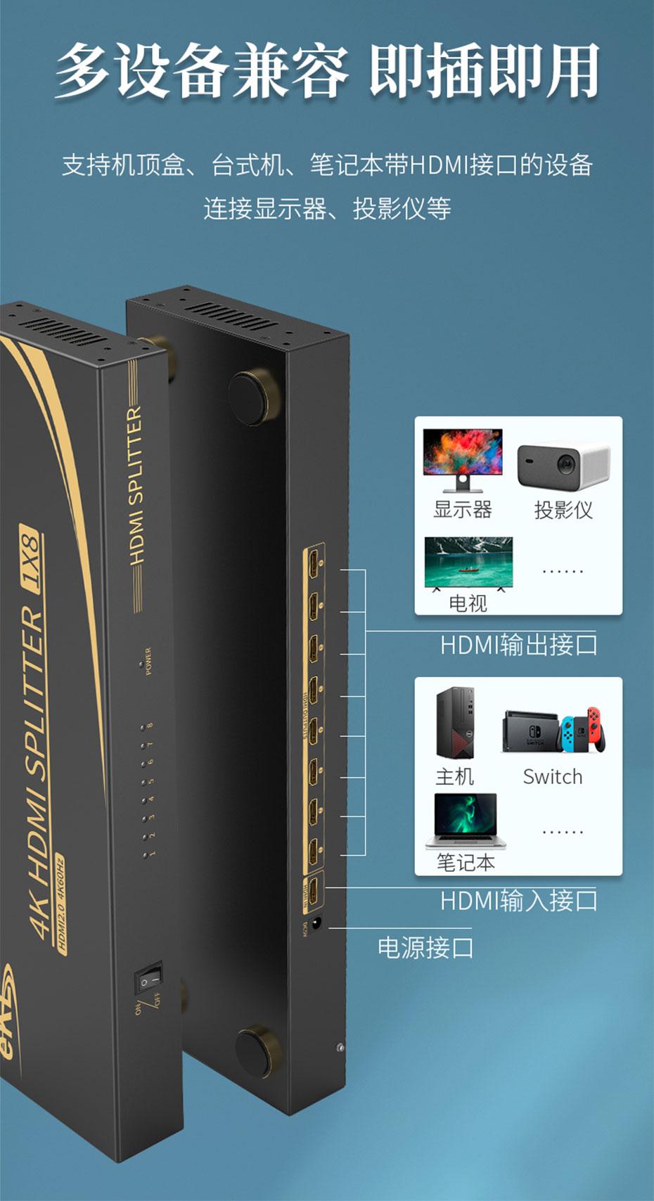 HDMI2.0分配器8路UH08R兼容多种HDMI接口设备