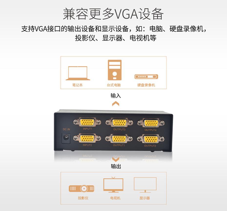 VGA切换分配器2进4出214兼容vga设备