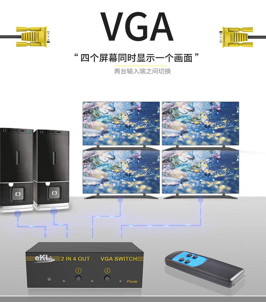 2进4出vga切换器214R连接使用示意图