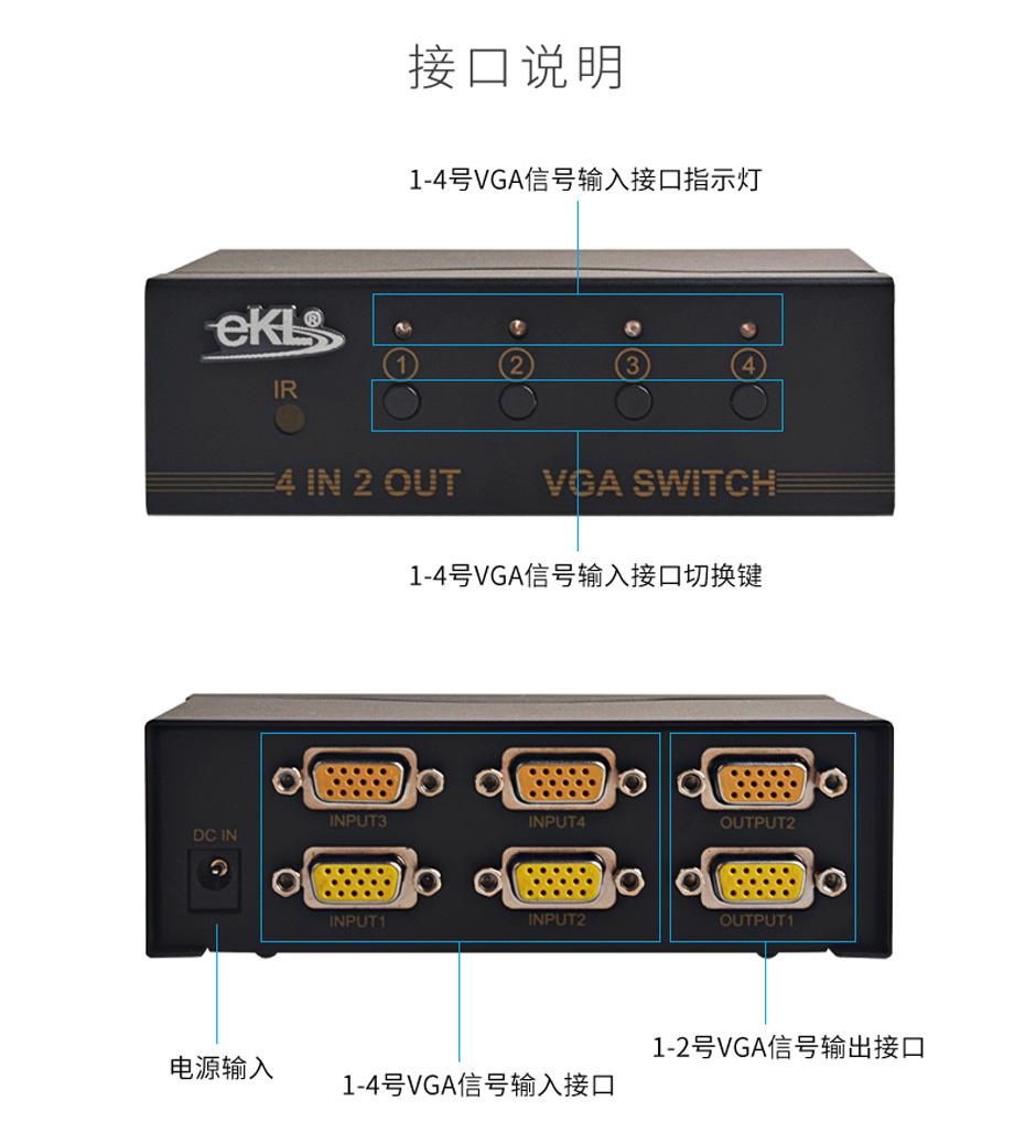 VGA切换器4进2出412接口说明
