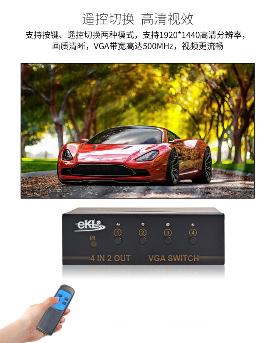 4进2出VGA切换器412R支持红外遥控切换