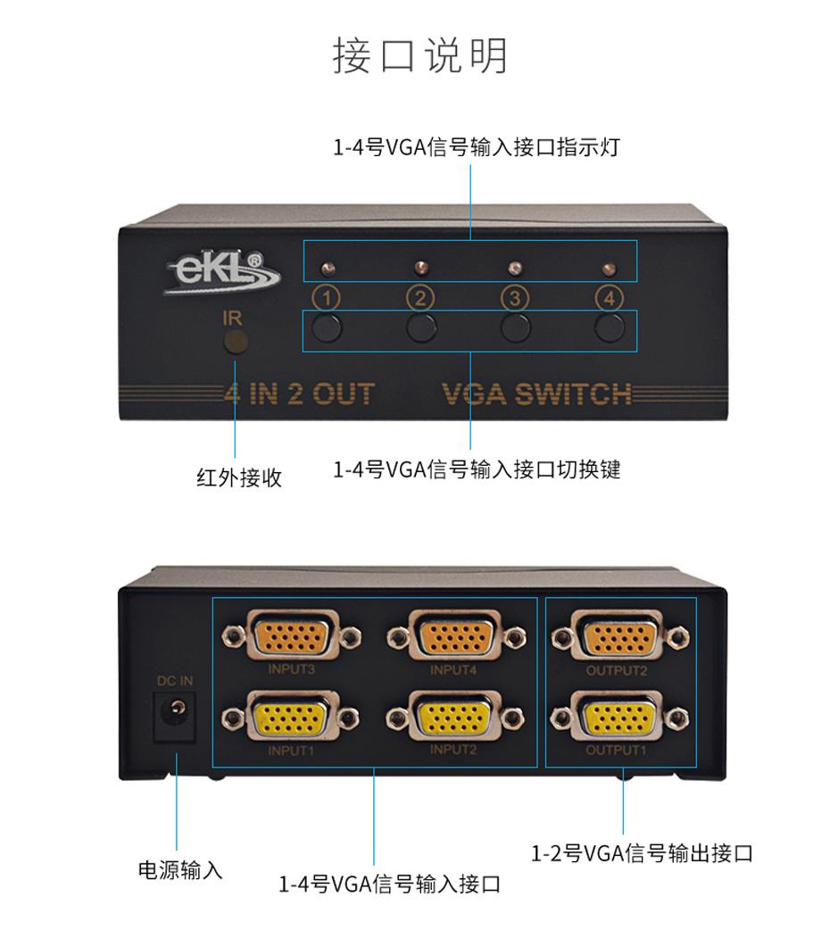 4进2出VGA切换器412R接口说明
