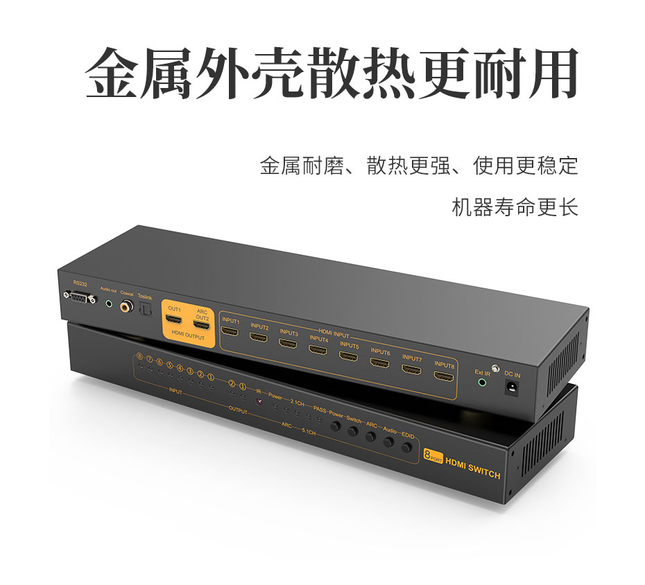 HDMI切换器八进一出/八进二出812H支持信号放大