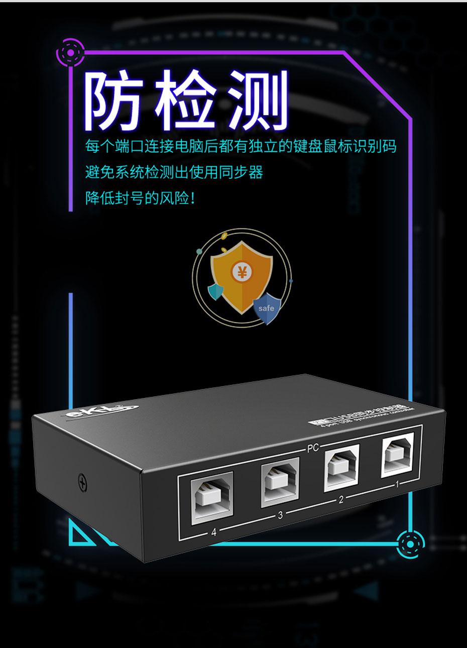 USB键盘鼠标同步控制器U304每个端口都有自己的鼠标键盘标识码,防检测