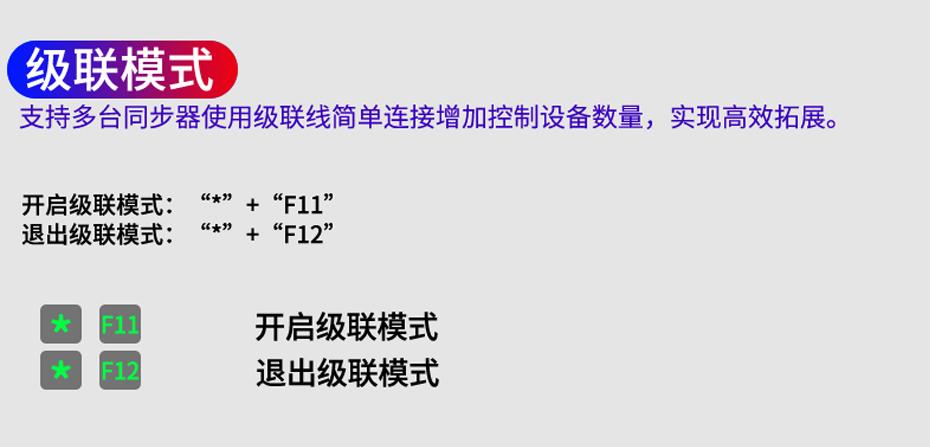 【4口USB键盘鼠标同步控制器】U304级联模式热键操作说明