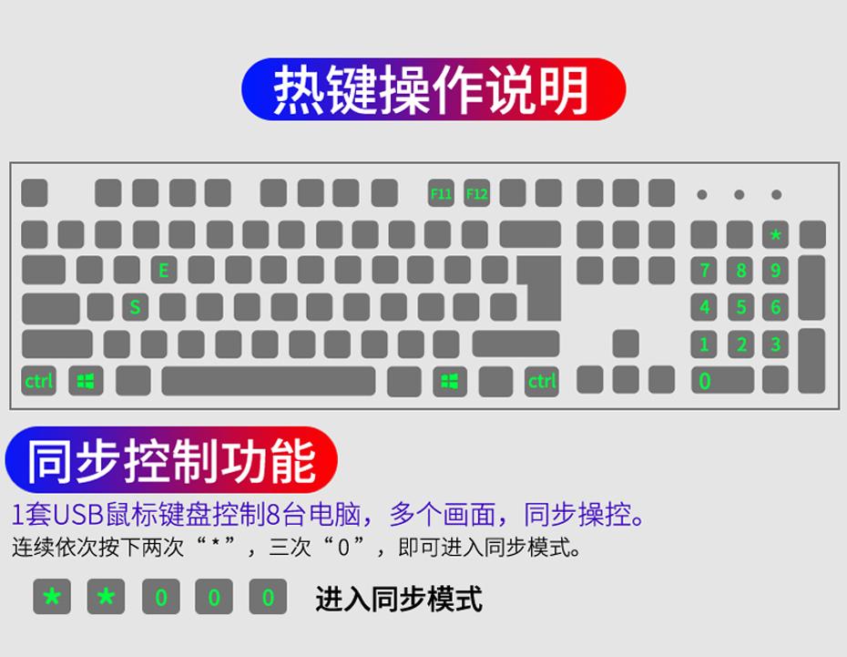 8口键盘鼠标同步器U308同步控制功能