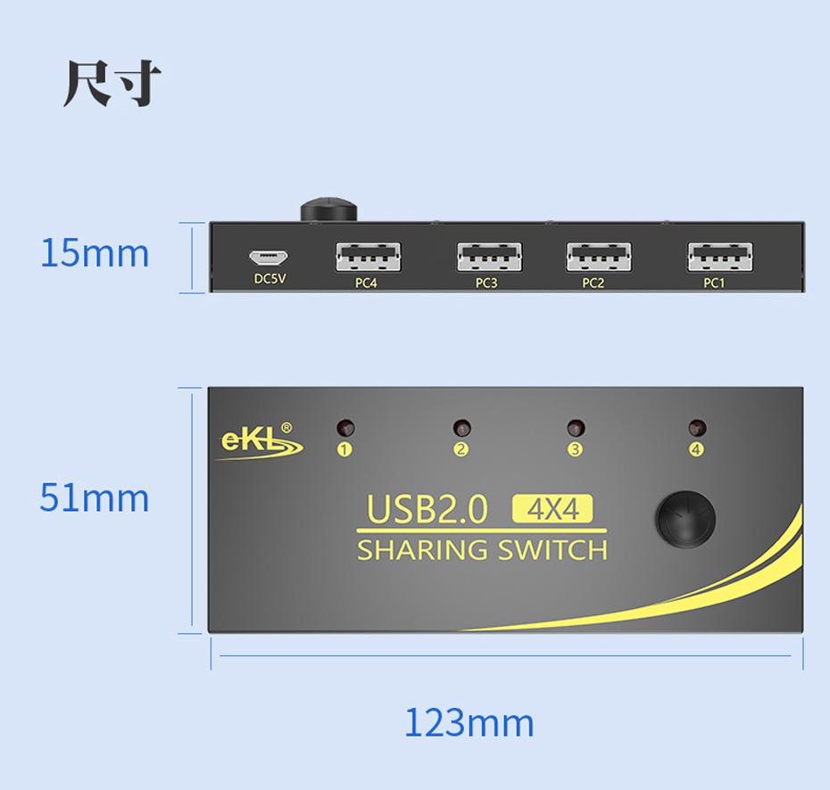 USB共享器四进四出U404尺寸:长123mm;宽:51mm;高:15mm
